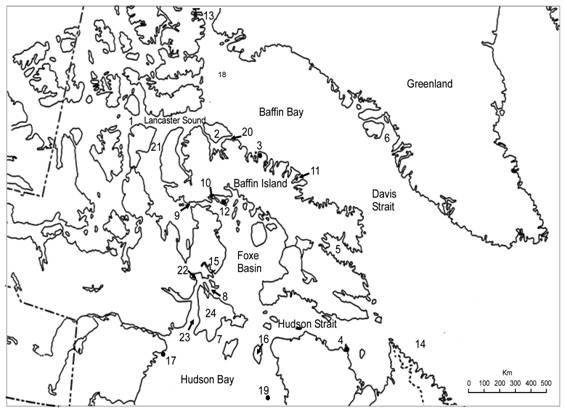 Map of the Canadian eastern Arctic showing places mentioned in the text. These are (1) Barrow Strait, (2) Bylot Island, (3) Cape Adair, (4) Cape Hopes Advance, (5) Cumberland Sound, (6) Disko Bay, (7) Fisher Strait, (8) Frozen Strait, (9) Fury and Hecla Strait, (10) Gifford Fiord, (11) Isabella Bay, (12) Jens Munk Island, (13) Kane Basin, (14) Labrador Sea, (15) Lyon Inlet, (16) Mansel Island, (17) Marble Island, (18) North Water, (19) Ottawa Islands, (20) Pond Inlet, (21) Prince Regent Inlet / Gulf of Boothia, (22) Repulse Bay, (23) Roes Welcome Sound and (24) Southampton Island.