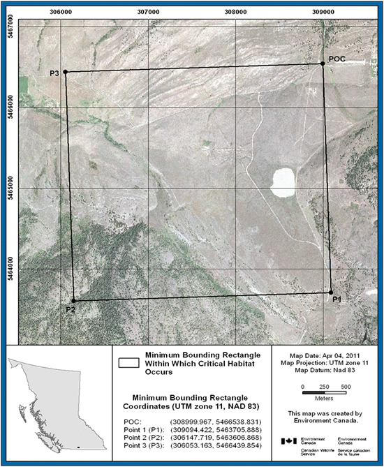 Figure 4 shows the minimum bounding rectangle and coordinates, within which critical habitat for Sage Thrasher occurs at White Lake, British Columbia. The ortho-photograph includes UTM zone, map datum, date in which map was produced and the approximate area in metres.