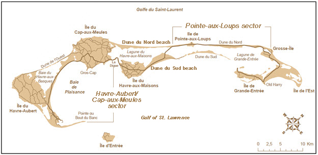Map of the Magdalen Islands showing two sectors of habitat (see long description below)