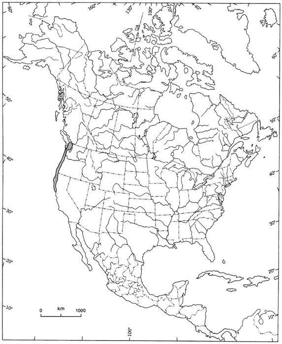 Figure 2.  North American distribution of Silene scouleri ssp. grandis.