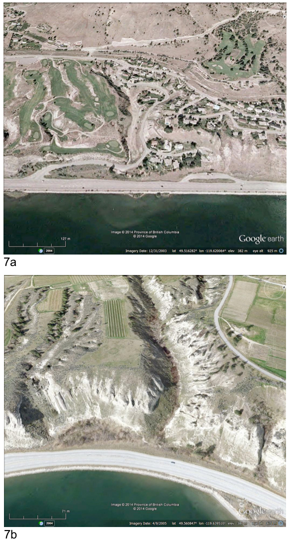 Two Google Earth images illustrating areas where sagebrush and grassland habitat