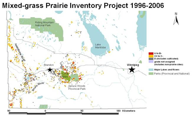 Colour-coded map where the mixed- prairie have been inventoried under the Manitoba Mixed-grass Inventory Project between 1996 and 2006.
