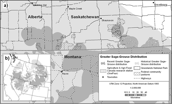 Figure 1 is a map of the current and historical distribution of Greater Sage-Grouse.(See long description below)