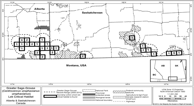Figure 2 is a map showing lek-based critical habitat for Greater Sage-Grouse in southeastern Alberta and southwestern Saskatchewan. (See long description below)