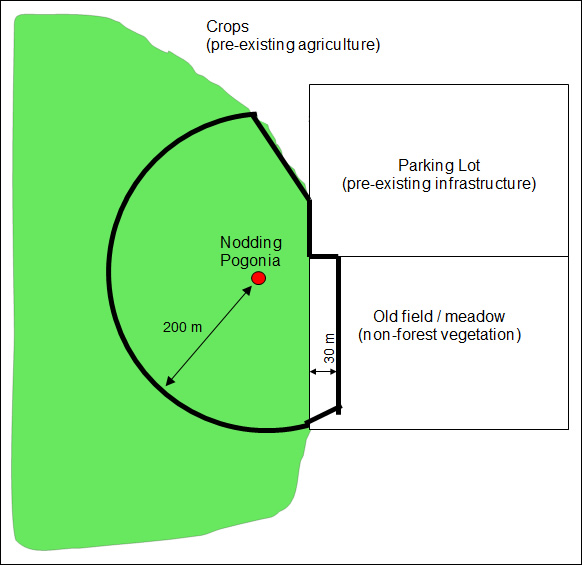 Map of habitat regulation for Nodding Pogonia using the parameters outlined above.