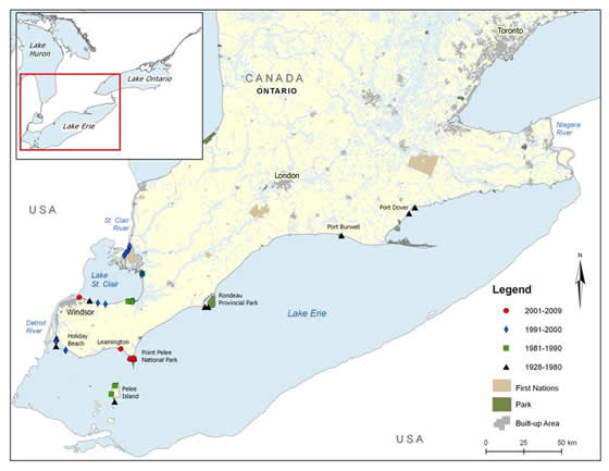 Figure 4. Channel Darter distribution in southwestern Ontario. (See long description below)