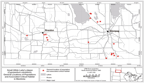 Map: General locations of populations and critical habitat in Manitoba. (See long description below)