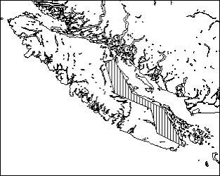 Aire de répartition historique du P. s. insulanus en Colombie-Britannique. Source : Ministère de l'Environnement.