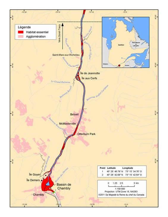 Figure 6. Habitat essentiel pour la croissance et la migration dans le secteur amont de la rivière Richelieu. (Voir description longue ci-dessous.)
