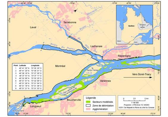 Figure 8. Zone de délimitation (en noir) dans laquelle l'habitat essentiel désigné correspond aux herbiers (région de Montréal) présentant les caractéristiques décrites dans le tableau 3. (Voir description longue ci-dessous.)