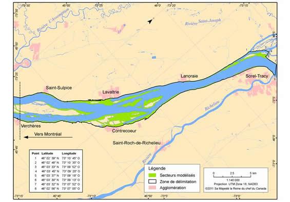 Figure 9. Zone de délimitation (en noir) dans laquelle l'habitat essentiel désigné correspond aux herbiers (région de Contrecœur) présentant les caractéristiques décrites dans le tableau 3. (Voir description longue ci-dessous.)