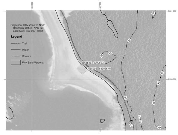 Carte montrant l'habitat essentiel actuel de l'abronie rose (polygone hachur驠ࠬa baie Clo-oose, en Colombie-Britannique.