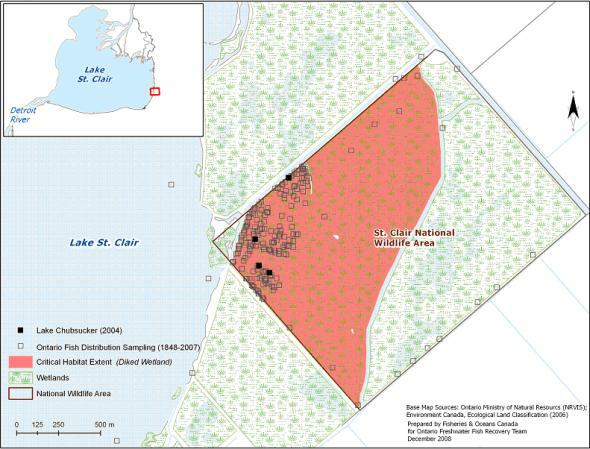 Figure 6. Critical habitat identified for the lake chubsucker in the St. Clair unit of the St. Clair NWA