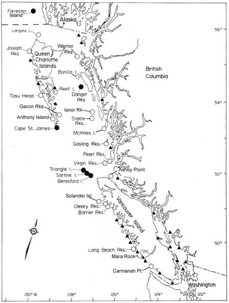 Figure 2. Geographic location of Steller Sea Lion rookeries (), year-round haulout sites () and major winter haulout sites (▲) in British Columbia. Also indicated is the major rookery on Forrester Island, Alaska.  Updated from Bigg (1985) (DFO unpublished data).