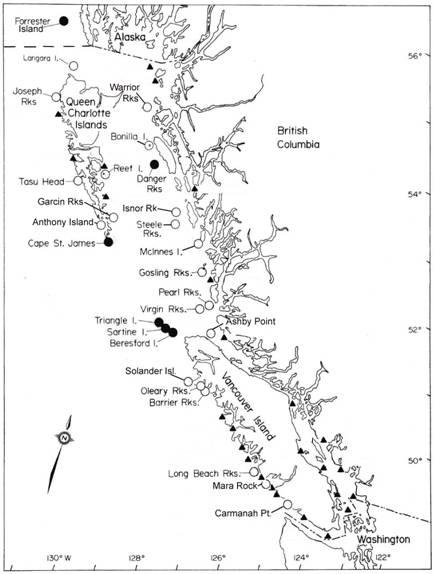 Emplacements géographiques des roqueries des otaries de Steller